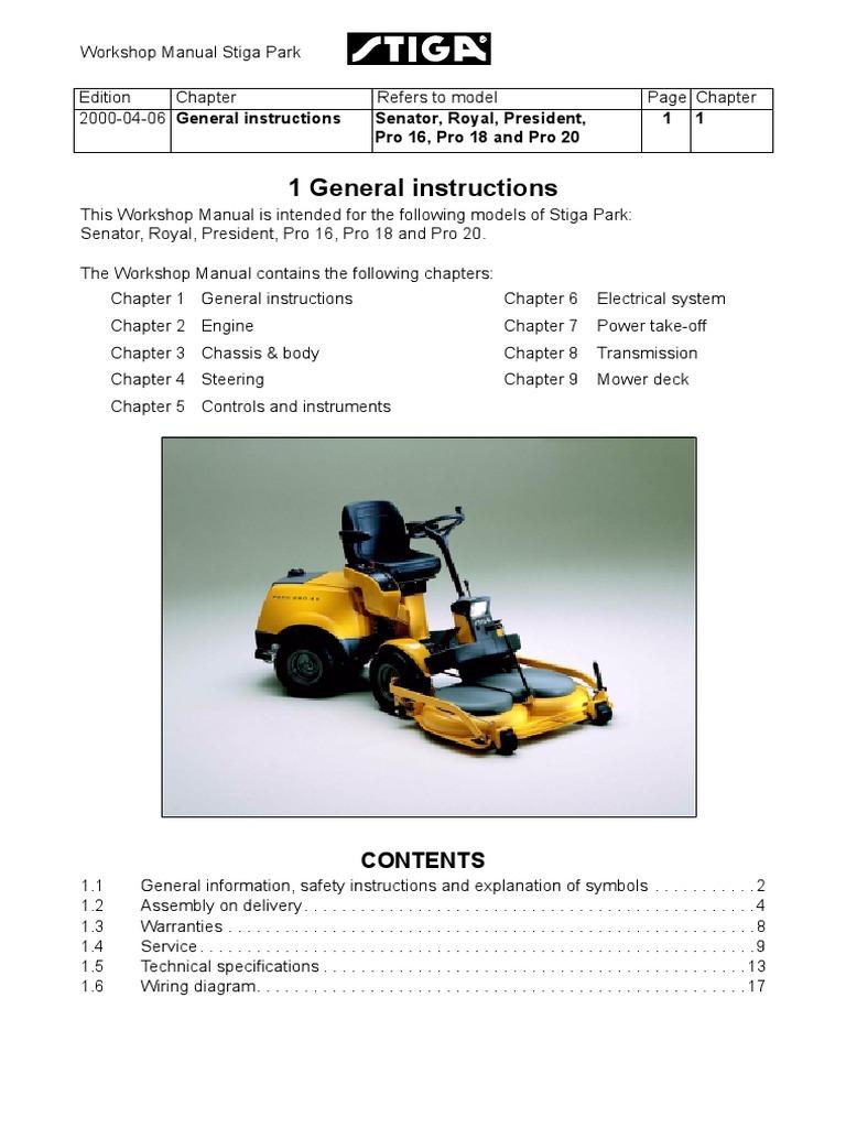 stiga park royal 2002 parts manual