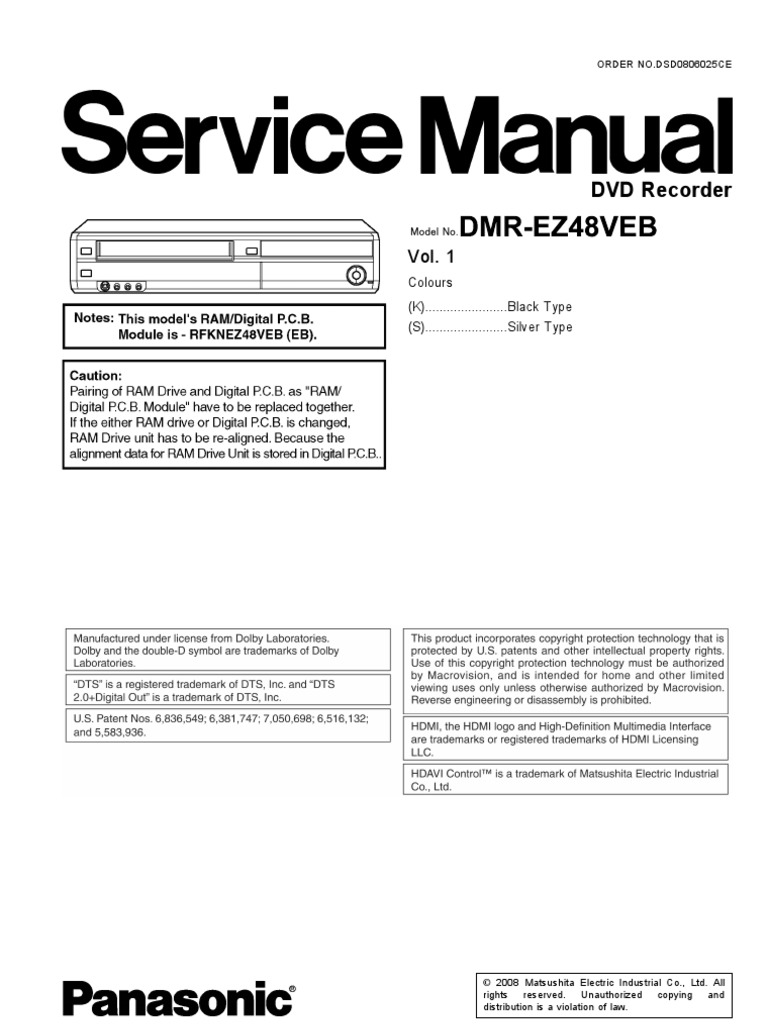 panasonic kx-f750 service manual