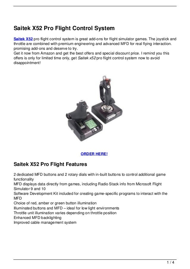 saitek x52 pro flight control system manual